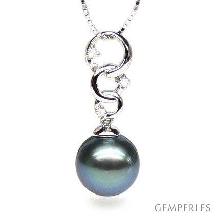 Ciondolo anelli oro bianco - Perla di Tahiti nera, blu - 11/12mm