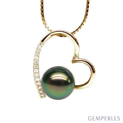 Ciondolo cuore oro giallo - Perla di Tahiti nera, pavone - 9/9.5mm