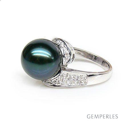 Anello oro bianco - Perla di Tahiti nera, verde, blu - 10.5/11mm