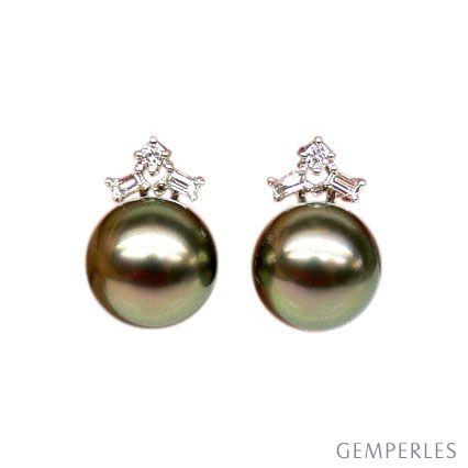 Orecchini - Farfallina oro bianco -  Perle di Tahiti nere, pavone - 10/11mm - 2