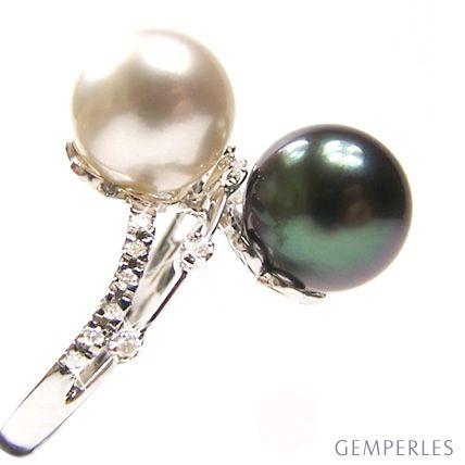 Anello oro bianco - Perle dei Mari del Sud - 9.5/10mm
