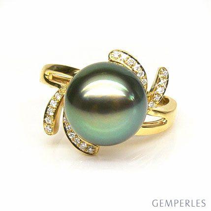 Anello petali oro giallo - Perla di Tahiti nera, verde - 10/11mm