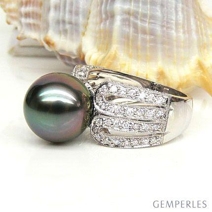 Anello oro bianco, diamanti - Perla di Tahiti nera, pavone, melanzana - 11/12mm