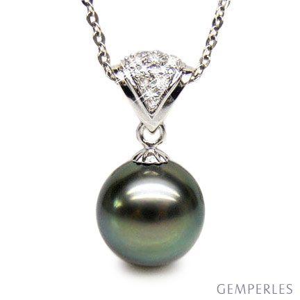 Ciondolo classico oro bianco - Perla di Tahiti grigia, blu, verde - 10/10.5mm