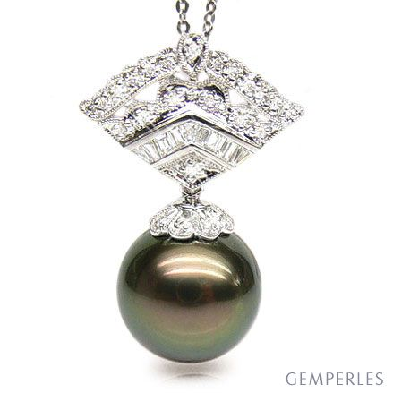 Ciondolo oro bianco - Perla di Tahiti nera, pavone, melanzana - 14/15mm