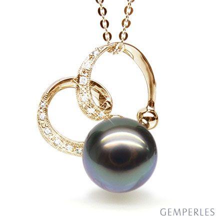 Ciondolo anelli oro giallo - Perla di Tahiti nera, brozo - 10/11mm