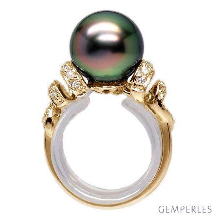 Anello oro giallo - Perla di Tahiti nera, verde, melanzana - 10/11mm