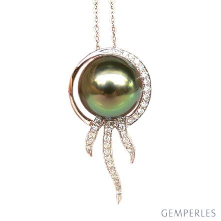 Ciondolo oro bianco - Perla di Tahiti nera, verde - 10/11mm