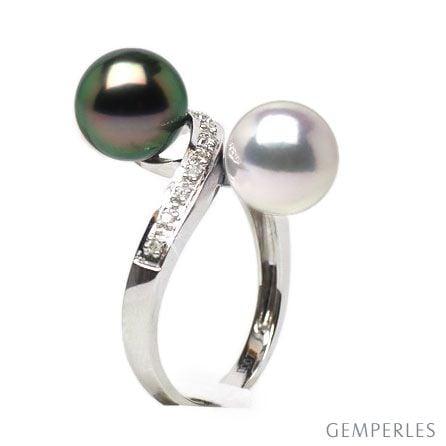 Anello oro bianco - perle di Tahiti nera e Akoya bianca - 8.5/9mm