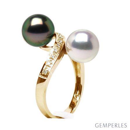 Anello oro giallo - perle di Tahiti nera e Akoya bianca - 8.5/9mm