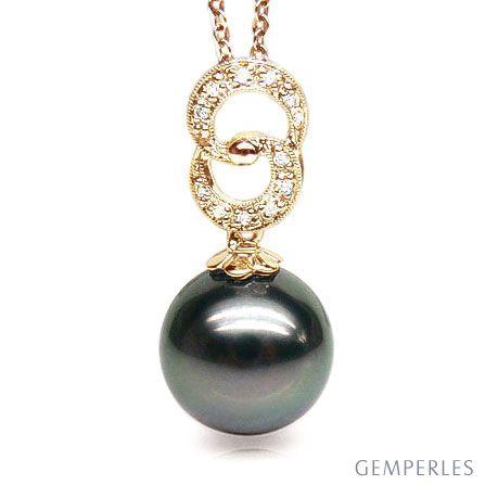 Ciondolo oro giallo, diamanti - Perla di Tahiti nera, bronzo - 11/12mm