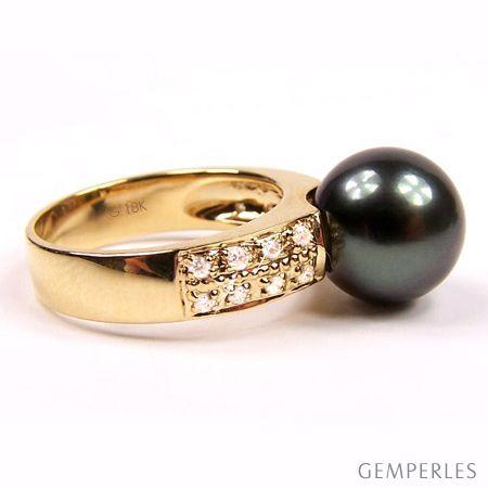 Anello oro giallo - Perla di Tahiti nera, pavone - 9.5/10mm - 2
