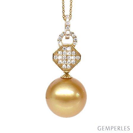 Ciondolo esagono oro giallo - Perla d'Australia dorata - 11/12mm
