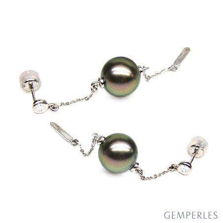 Orecchini - Pendenti oro bianco -  Perle di Tahiti nere, pavone - 10/10.5mm
