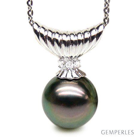 Ciondolo classico oro bianco - Perla di Tahiti nera, pavone - 11/12mm