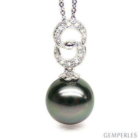 Ciondolo oro bianco, diamanti - Perla di Tahiti nera, bronzo - 11/12mm