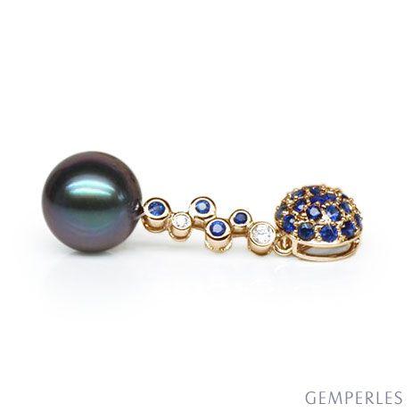Ciondolo oro giallo, zaffiri, diamanti - Perla di Tahiti nera, blu - 11/12mm