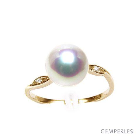 Anello oro giallo, diamanti - Perla Akoya bianca, rosa - 8/8.5mm