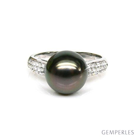 Anello oro bianco - Perla di Tahiti nera, bronzo - 9/10mm