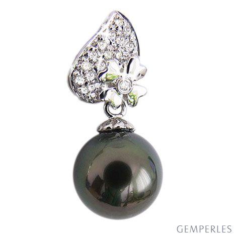Ciondolo quadrifoglio oro bianco - Perla di Tahiti nera, blu - 10/11mm