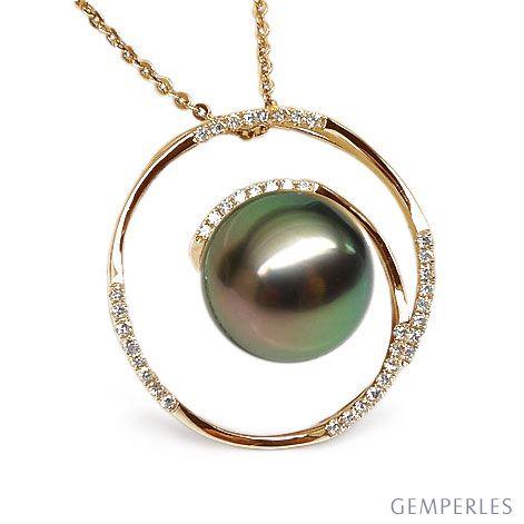 Ciondolo cerchio oro giallo - Perla di Tahiti nera, pavone - 10.5/11mm