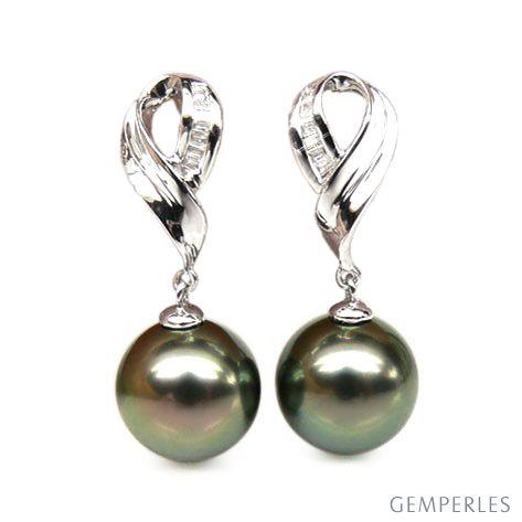 Orecchini nastro - Pendenti oro bianco - Perle di Tahiti nere, pavone - 9/10mm