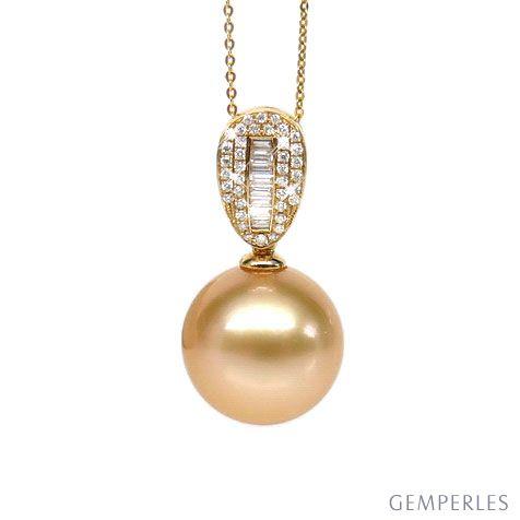 Ciondolo oro giallo - Perle d'Australia dorata - 13/14mm