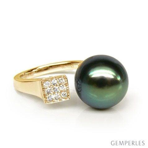 Anello oro giallo, diamanti - Perla di Tahiti nera, verde - 11/12mm