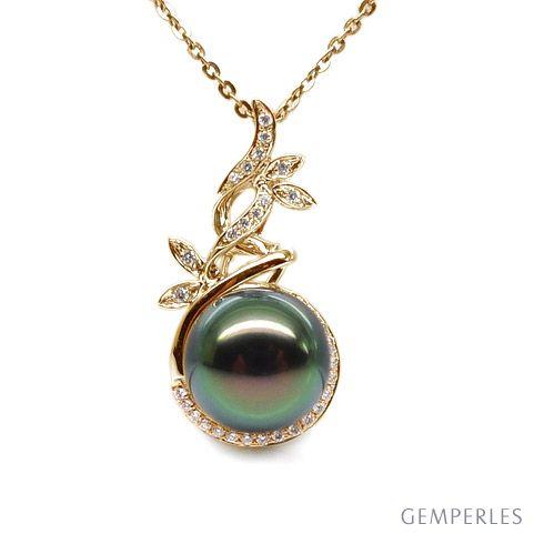 Ciondolo natura oro giallo - Perla di Tahiti nera, pavone - 10/11mm