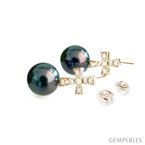 Orecchini croce - Pendenti oro giallo - Perle di Tahiti nere, pavone - 9/10mm
