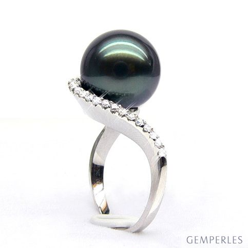 Anello oro bianco - Perla di Tahiti nera, bronzo - 11/12mm