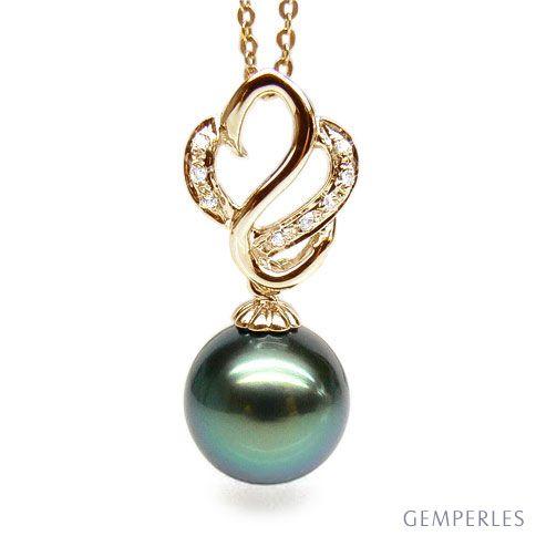 Ciondolo cigno oro giallo - Perla di Tahiti nera, pavone, verde - 11/12mm
