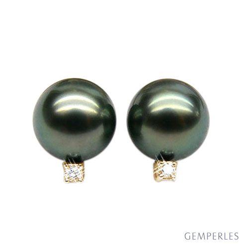 Orecchini - Farfallina oro giallo - Perle di Tahiti nere, bronzo - 9/10mm