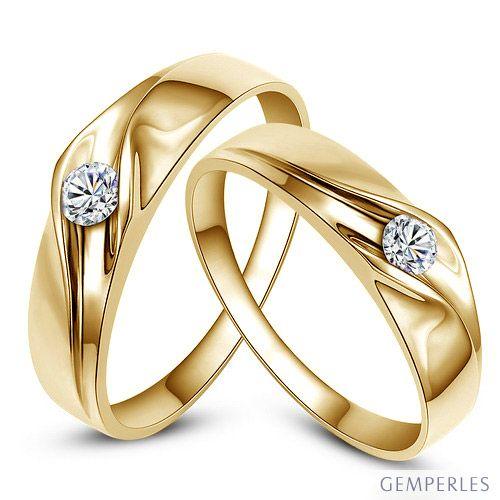 Fedi matrimonio, Fedine -  Oro giallo 6.70gr, Diamanti 0.170ct