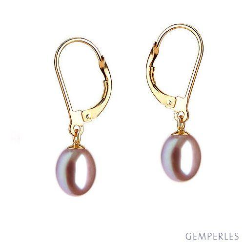 Orecchini perle acqua dolce lavanda. Monachella oro giallo - 8/9mm. AA+