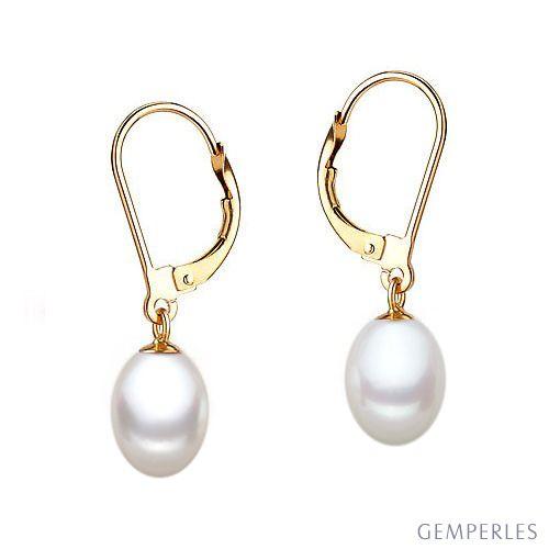 Orecchini perle acqua dolce bianche. Monachella oro giallo - 8/9mm. AA+