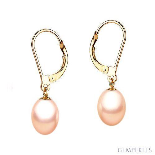 Orecchini perle acqua dolce rosa. Monachella oro giallo - 8/9mm. AA+
