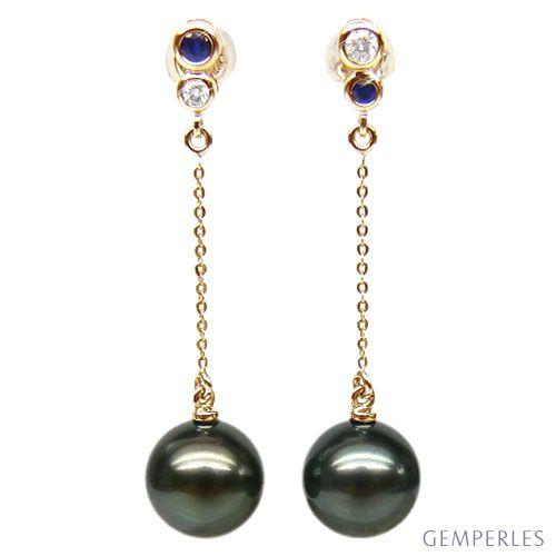 Orecchini zaffiri, diamanti - Pendenti oro giallo - Perle di Tahiti nere, bronzo - 9/10mm