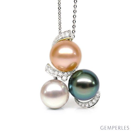 Ciondolo oro bianco - Perle di Tahiti, acqua dolce - 10/10.5mm