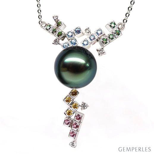 Ciondolo tricolore oro bianco - Perla di Tahiti nera, verde - 11/12mm