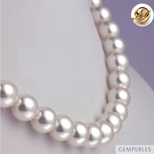 Collana di perle Akoya giapponesi bianche - 8.5/9mm, AAA / HANADAMA