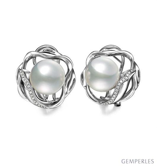 Orecchini perle d'Australia bianche. Clips oro bianco - 10/11mm
