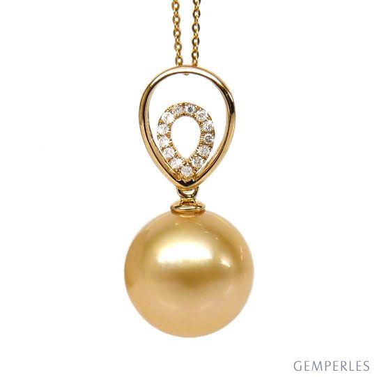 Ciondolo oro giallo, diamanti - Perla Australiana dorata - 12/13mm