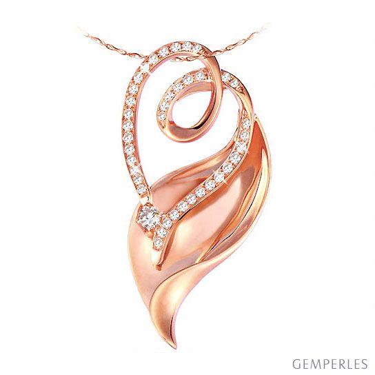 Ciondolo - Oro rosa 3.80gr - Diamanti 0.280ct