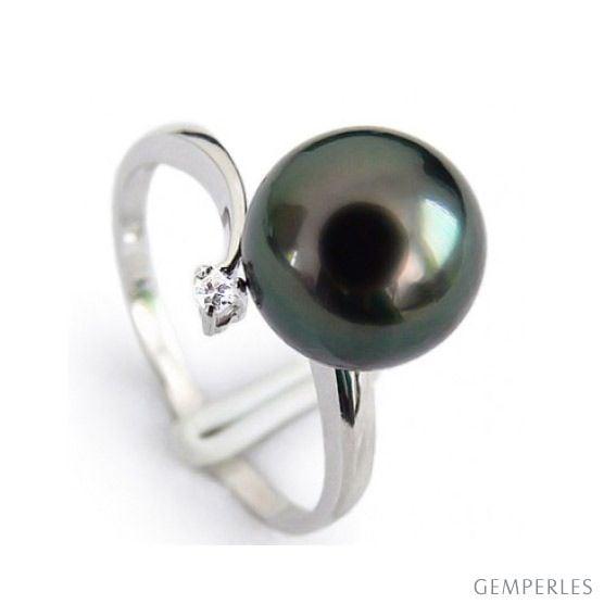 Anello oro bianco - Perla di Tahiti nera, bronzo - 8.5/9mm