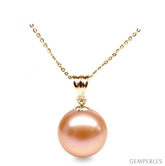 Ciondolo oro giallo - Perla d'acqua dolce rosa - 10/11mm