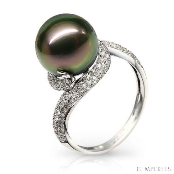 Anello oro bianco, diamanti - Perla di Tahiti nera, pavone - 10.5/11mm