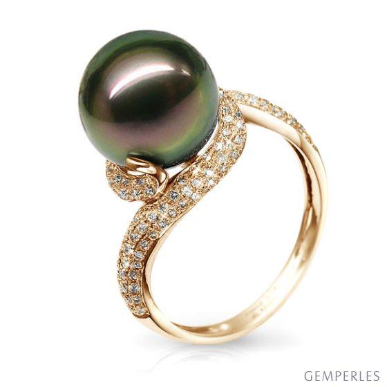 Anello oro giallo, diamanti - Perla di Tahiti nera, pavone - 10.5/11mm