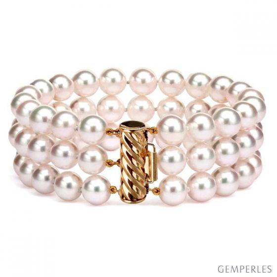 Braccialetto tre fili perle - Akoya bianche giapponesi - 6.5/7mm