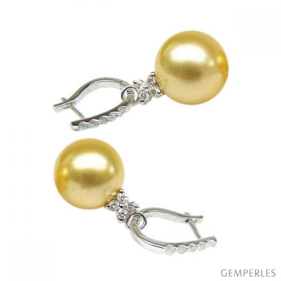 Orecchini perle d'Australia dorate. Monachella oro bianco - 12/13mm - 2